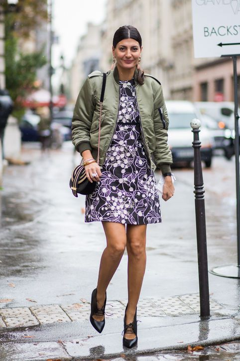 10-valentines-day-outfit-idea-floral-dress-bomber-jacket