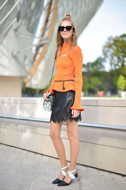 13-valentines-day-outfit-idea-orange-sweater-lace-leather-skirt